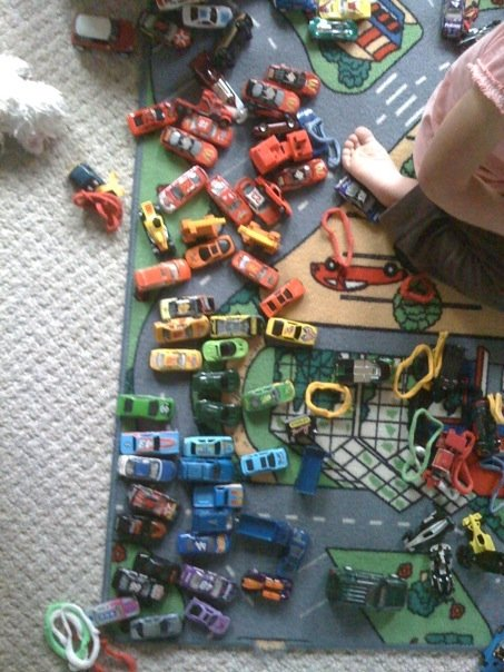 Babysitting a few years ago, I was sorting their cars... it was neater, but one of the kids drove through them.