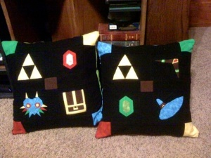 Pillows made for the boys, from the free patterns on fandominstitches.com